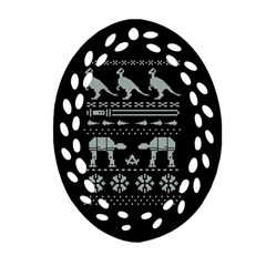 Holiday Party Attire Ugly Christmas Black Background Oval Filigree Ornament (2 Side)  by Onesevenart