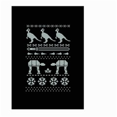 Holiday Party Attire Ugly Christmas Black Background Large Garden Flag (two Sides) by Onesevenart