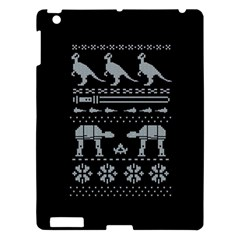 Holiday Party Attire Ugly Christmas Black Background Apple Ipad 3/4 Hardshell Case by Onesevenart