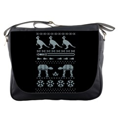 Holiday Party Attire Ugly Christmas Black Background Messenger Bags by Onesevenart
