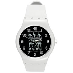 Holiday Party Attire Ugly Christmas Black Background Round Plastic Sport Watch (m) by Onesevenart