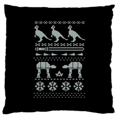 Holiday Party Attire Ugly Christmas Black Background Large Cushion Case (two Sides) by Onesevenart