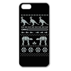 Holiday Party Attire Ugly Christmas Black Background Apple Seamless Iphone 5 Case (clear) by Onesevenart