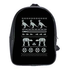 Holiday Party Attire Ugly Christmas Black Background School Bags (xl)  by Onesevenart