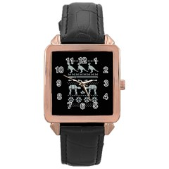 Holiday Party Attire Ugly Christmas Black Background Rose Gold Leather Watch  by Onesevenart