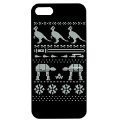 Holiday Party Attire Ugly Christmas Black Background Apple Iphone 5 Hardshell Case With Stand by Onesevenart