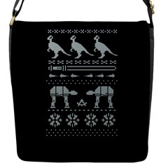 Holiday Party Attire Ugly Christmas Black Background Flap Messenger Bag (s) by Onesevenart