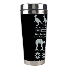 Holiday Party Attire Ugly Christmas Black Background Stainless Steel Travel Tumblers by Onesevenart