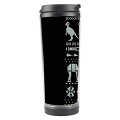Holiday Party Attire Ugly Christmas Black Background Travel Tumbler by Onesevenart