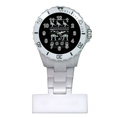 Holiday Party Attire Ugly Christmas Black Background Plastic Nurses Watch by Onesevenart