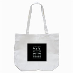 Holiday Party Attire Ugly Christmas Black Background Tote Bag (white) by Onesevenart