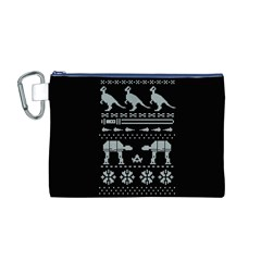 Holiday Party Attire Ugly Christmas Black Background Canvas Cosmetic Bag (m) by Onesevenart