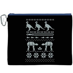 Holiday Party Attire Ugly Christmas Black Background Canvas Cosmetic Bag (xxxl) by Onesevenart