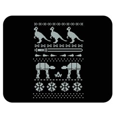 Holiday Party Attire Ugly Christmas Black Background Double Sided Flano Blanket (medium)  by Onesevenart