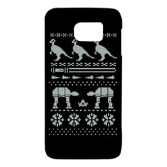 Holiday Party Attire Ugly Christmas Black Background Galaxy S6 by Onesevenart