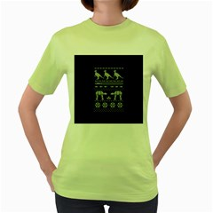 Holiday Party Attire Ugly Christmas Blue Background Women s Green T Shirt by Onesevenart