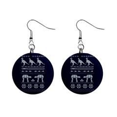 Holiday Party Attire Ugly Christmas Blue Background Mini Button Earrings by Onesevenart