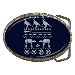 Holiday Party Attire Ugly Christmas Blue Background Belt Buckles by Onesevenart