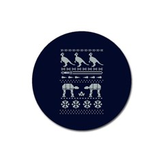 Holiday Party Attire Ugly Christmas Blue Background Magnet 3  (round) by Onesevenart