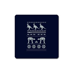 Holiday Party Attire Ugly Christmas Blue Background Square Magnet by Onesevenart