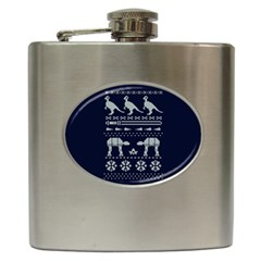Holiday Party Attire Ugly Christmas Blue Background Hip Flask (6 Oz) by Onesevenart