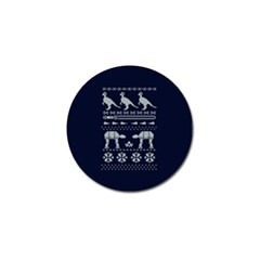 Holiday Party Attire Ugly Christmas Blue Background Golf Ball Marker (4 Pack) by Onesevenart
