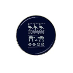 Holiday Party Attire Ugly Christmas Blue Background Hat Clip Ball Marker (4 Pack) by Onesevenart