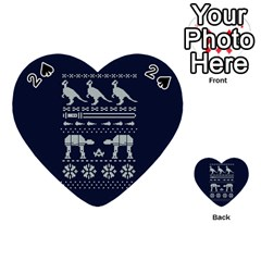 Holiday Party Attire Ugly Christmas Blue Background Playing Cards 54 (heart)  by Onesevenart
