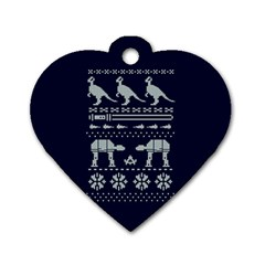 Holiday Party Attire Ugly Christmas Blue Background Dog Tag Heart (two Sides) by Onesevenart