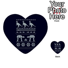 Holiday Party Attire Ugly Christmas Blue Background Multi Purpose Cards (heart)  by Onesevenart