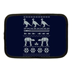 Holiday Party Attire Ugly Christmas Blue Background Netbook Case (medium)  by Onesevenart