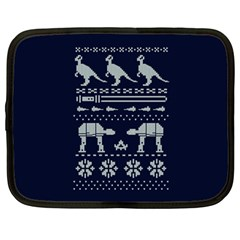 Holiday Party Attire Ugly Christmas Blue Background Netbook Case (large) by Onesevenart