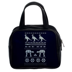 Holiday Party Attire Ugly Christmas Blue Background Classic Handbags (2 Sides) by Onesevenart