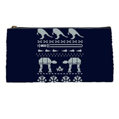 Holiday Party Attire Ugly Christmas Blue Background Pencil Cases by Onesevenart