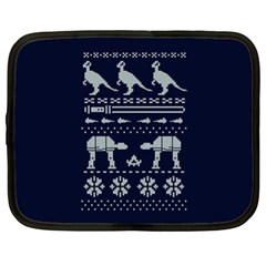 Holiday Party Attire Ugly Christmas Blue Background Netbook Case (xl)  by Onesevenart