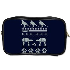 Holiday Party Attire Ugly Christmas Blue Background Toiletries Bags by Onesevenart