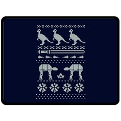 Holiday Party Attire Ugly Christmas Blue Background Fleece Blanket (large)  by Onesevenart