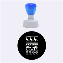 Holiday Party Attire Ugly Christmas Blue Background Rubber Round Stamps (medium) by Onesevenart