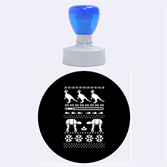 Holiday Party Attire Ugly Christmas Blue Background Rubber Round Stamps (large) by Onesevenart