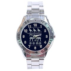 Holiday Party Attire Ugly Christmas Blue Background Stainless Steel Analogue Watch by Onesevenart