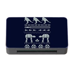 Holiday Party Attire Ugly Christmas Blue Background Memory Card Reader With Cf by Onesevenart