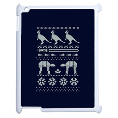 Holiday Party Attire Ugly Christmas Blue Background Apple Ipad 2 Case (white) by Onesevenart