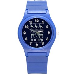 Holiday Party Attire Ugly Christmas Blue Background Round Plastic Sport Watch (s) by Onesevenart