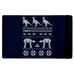 Holiday Party Attire Ugly Christmas Blue Background Apple Ipad 3/4 Flip Case by Onesevenart