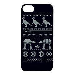 Holiday Party Attire Ugly Christmas Blue Background Apple Iphone 5s/ Se Hardshell Case by Onesevenart