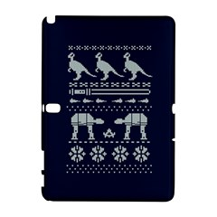Holiday Party Attire Ugly Christmas Blue Background Samsung Galaxy Note 10 1 (p600) Hardshell Case by Onesevenart