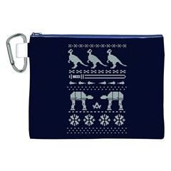 Holiday Party Attire Ugly Christmas Blue Background Canvas Cosmetic Bag (xxl) by Onesevenart