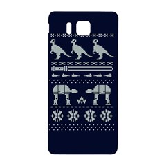 Holiday Party Attire Ugly Christmas Blue Background Samsung Galaxy Alpha Hardshell Back Case by Onesevenart