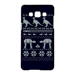 Holiday Party Attire Ugly Christmas Blue Background Samsung Galaxy A5 Hardshell Case  by Onesevenart