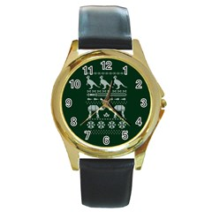 Holiday Party Attire Ugly Christmas Green Background Round Gold Metal Watch by Onesevenart